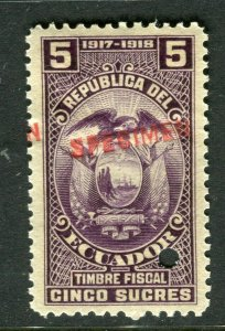 ECUADOR; Early 1917 fine Fiscal issue Mint MNH unmounted SPECIMEN 5s.