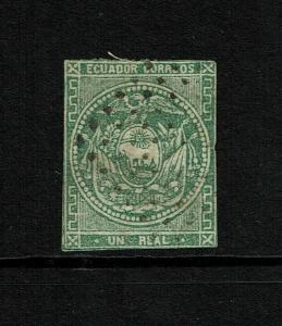 Ecuador SC# 5, Used, Hinge Remnant, very small, shallow top corner thin - S8541