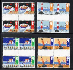 Great Britain Sc 1107-10 1985 Sea Safety stamps gutter blocks of 4 mint NH