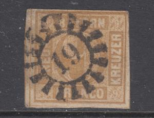 Bavaria Sc 12 used. 1862 9kr bister Numeral, 19 closed Millwheel cancel.