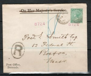 Bermuda #9 (SG #11) Used On Cover To Boston MA USA OHMS Crossed Out