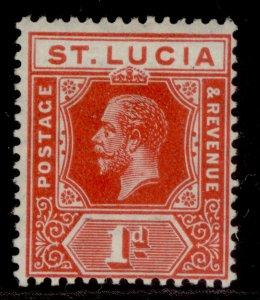 ST. LUCIA GV SG79a, 1d scarlet, LH MINT.