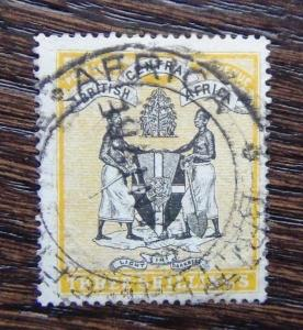 British Central Africa Nyasaland 1895 3s Black and Yellow Used
