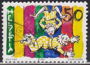 Switzerland 920 USED 1992 Clowns on Trapeze 50c
