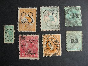 South, Australia, Victoria perfins 7 different official OS mixed cond see pics