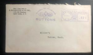 1942 New York USA Meter Cancel cover To Yakima Wa Blumenthal Co