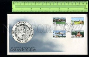 230077 NORFOLK ISLAND 1983 first manned flight PLANES set FDC
