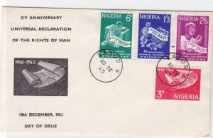 nigeria 1963 universal rights declaration   stamps cover ref r16223