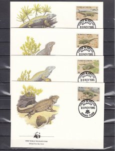 Turks & Caicos, Scott cat. 710-713. WWF-Iguanas on 4 First Day Covers. ^