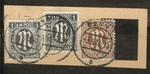 Germany Scott 3N1 and 3N7 Used on piece Type 3 Brunswick