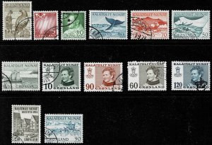 13 Used Stamps From Greenland
