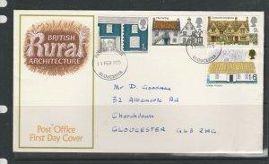 GB FDC 1970 Cottages, Illus, Gloucester FDI ( listed in Bradbury), Neat Hand add