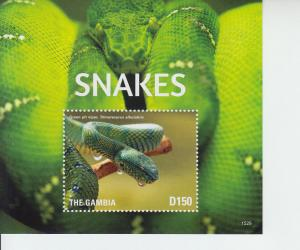 2015 Gambia Snakes II SS (Scott 3674) MNH