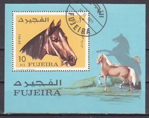 Fujeira, Mi cat. 814, BL84 A. Horses s/sheet. Canceled. ^