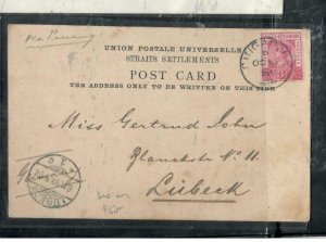 MALAYA STRAITS COVER (P3012B) 1898 QV 3C ON MULTIVIEW PPC ANTIQUE OVER 100 YEARS