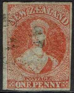 NEW ZEALAND 1862 QV CHALON 1D WMK LARGE STAR IMPERF USED