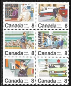 Canada 634-639: 8c Letter Carrier Delivery Service, Block, MNH, VF