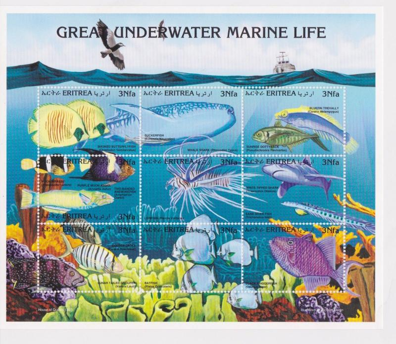 Eritrea - Fish, Marine Life, 1997 - Sc 298 Sheetlet of 9 MNH
