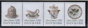 Denmark  Scott  916-9 1990 Flora Danica Porcelain stamp set mint NH