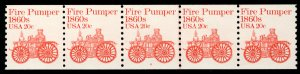 US #1908 PLATE NUMBER COIL plate 4, VF/XF mint never hinged, strip of 5,  NIC...