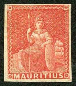 Mauritius SG28 1858 (6d) Vermilion M/M Cat 70 Pounds