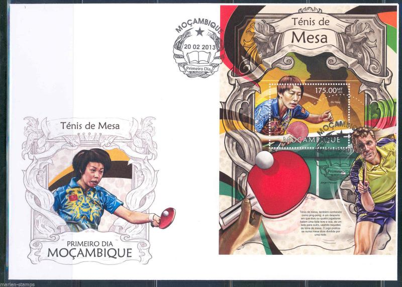 MOZAMBIQUE 2013 PING PONG TABLE TENNIS  SOUVENIR SHEET FIRST DAY COVER