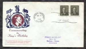p530 - Canada 1949 FDC Cover - KGVI Birthday - Coat of Arms Cachet