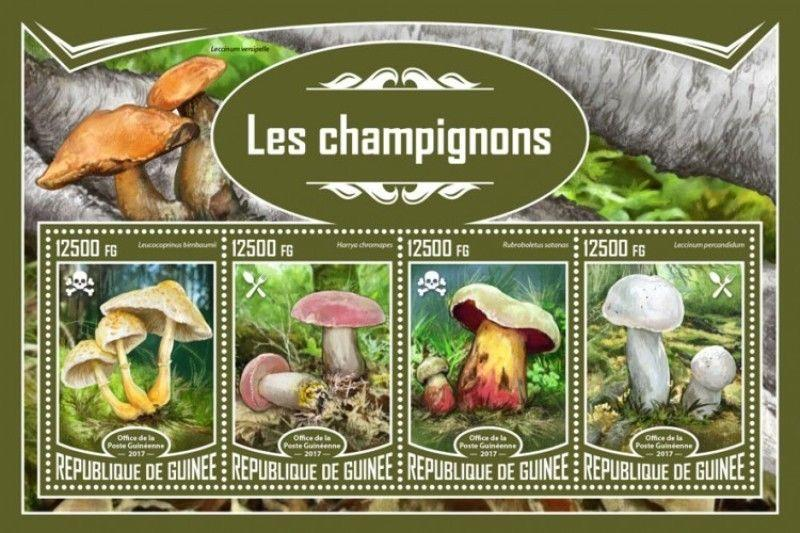 Guinea - 2017 Mushrooms - 4 Stamp Sheet - GU17320a