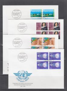Switzerland Mi 1516/1535, 1994 issues, 9 complete sets in blocks of 4 on 16 FDCs
