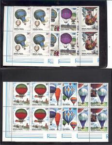 Rwanda, 1183-90, Historic Flights Blocks (4), MNH