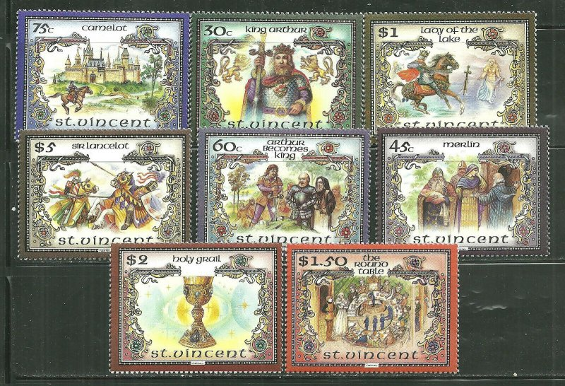 St. Vincent MNH 979a-g Legend Of King Arthur SCV 9.65