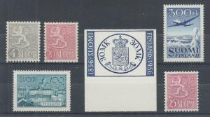 Finland Sc 314A, 319, 322,241,350,C3, MNH. 1954-58 issues, 6 diff better singles