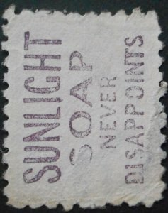 New Zealand 1893 One Penny with Sunlight Soap in Mauve advert SG 218j used