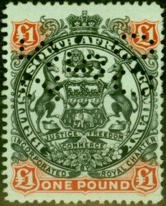 Rhodesia 1897 £1 Black & Red Brown-Green SG73 Fine Mtd Mint Perf-In