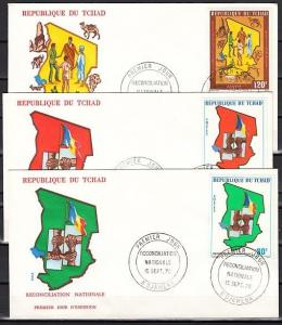 Chad, Scott cat. 318-320. National Reconciliation issue. 3 First Day Covers. ^