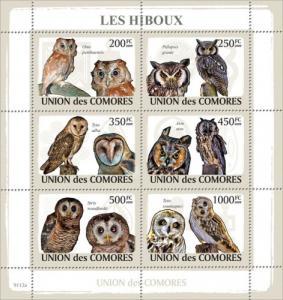 COMORES 2009 SHEET OWLS HIBOUX EULEN BUHOS CORUJAS BIRDS AVES PASSAROS cm9113a