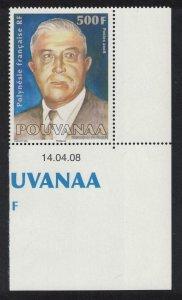 Fr. Polynesia Pouvanaa Politician 'spiritual father' 1v 500f Corner Date