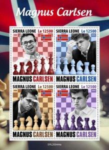 SIERRA LEONE - 2020 - Magnus Carlsen - Perf 4v Sheet - Mint Never Hinged