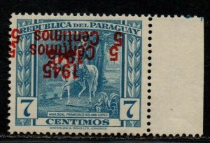 $Paraguay Sc#427 M/NH/VF+, double inverted O/P, expertized, Cv. $100
