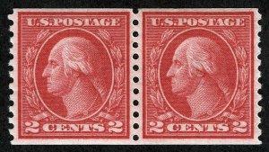US Sc 455 Carmine 2¢ Rotary Ty III SLWCoil Pair MNH Original Gum *MP lot
