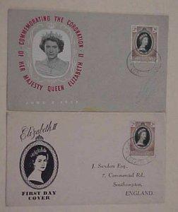 BECHUANALAND QUEEN ELIZABETH II CORONATION 2 FDC 1953  CACHETED