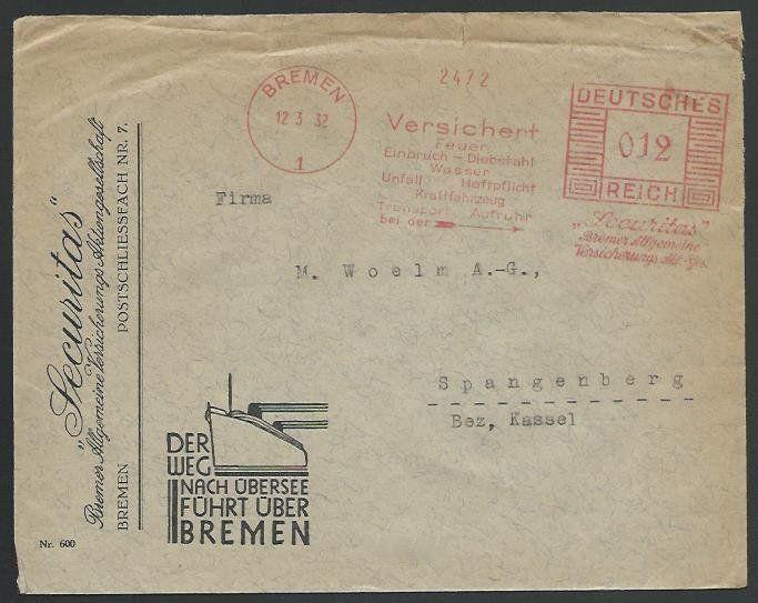 GERMANY 1932 cover red meter BREMEN, Securitas,shipping....................57092