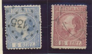 Netherlands Stamps Scott #7 To 8, Used - Free U.S. Shipping, Free Worldwide S...
