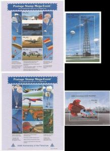Palau 1997 Parachute Anniversary & Uses - 2 8 Stamp Sheets + 2 S/S - 16D-095