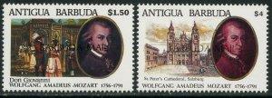 BARBUDA Sc#1288-1289 1992 Mozart Anniversary Complete Set OG Mint NH