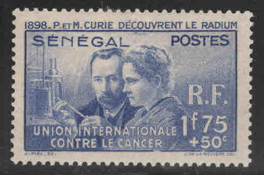 Senegal Scott B3 MH* Curie Cancer stamp 1938