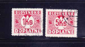 Slovakia J8-J9 U Postage Due Stamps