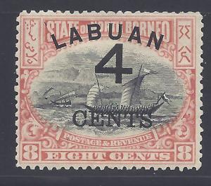 Labuan # 89 Unused Very Fine - 1889 4c on 8c Dhow