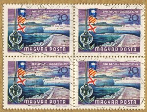 HUNGARY #1908 - USED BLOCK OF 4 - 1968 - HUNGARY222DTS4