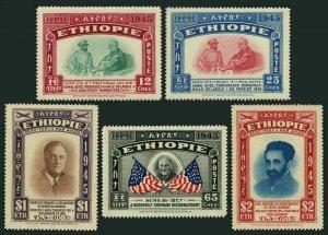 Ethiopia 278-C22,MNH.Michel 230-234. Emperor Haile Selassie,Franklin D.Roosevelt